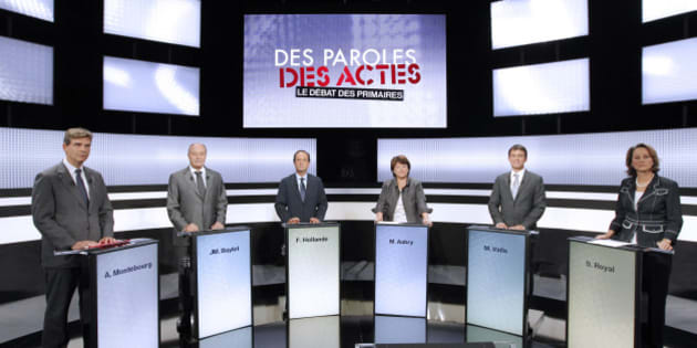 France's Socialist Party primary election candidates, from L-R Arnaud Montebourg, Jean-Michel Baylet, Francois Hollande, Martine Aubry, Manuel Valls and Segolene Royal participate in the first debate in Paris September 15, 2011.  Six candidates of the opposition Socialist Party will hold three televised debates ahead of the two-round primary vote on October 9 and 16 as they prepare for the 2012 presidential elections. REUTERS/Patrick Kovarick  Pool (FRANCE  - Tags: POLITICS ELECTIONS POLITICS)