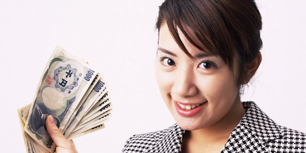 Businesswoman bundle of notes, Studio, Portrait