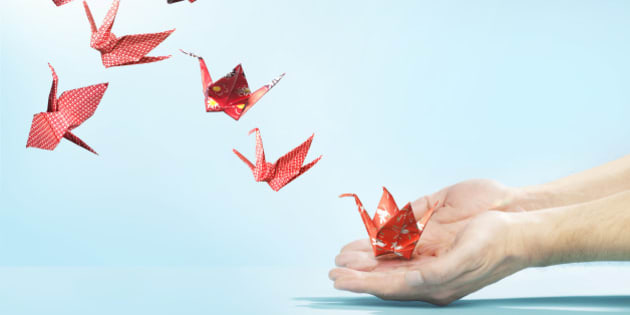 red, cranes, origami, floral, checked, blue, hands, hand, finger, fingers, flying away, studio, studio background