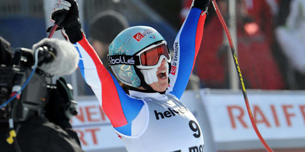France's Marie Marchand-Arvier reacts at the finish line after placing second an Alpine Ski, Women's World Cup Super G race, in St. Moritz, Switzerland, Sunday, Jan. 31, 2010. Marchand-Arvier tied second with Austria's Andrea Fischbacher.  (AP Photo/Giovanni Auletta)