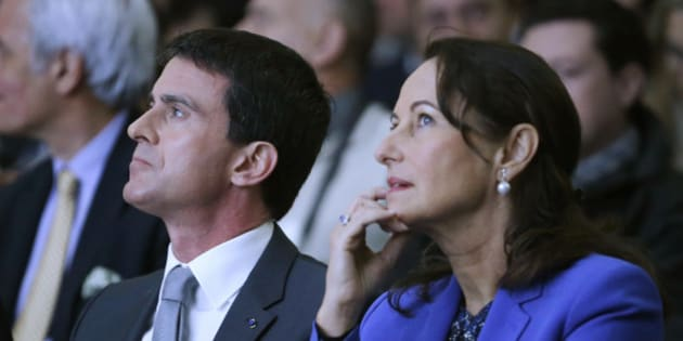 France's Prime Minister Manuel Valls (L) and Ecology, Sustainable Development and Energy Minister Segolene Royal attend an inaugural visit of the Alstom offshore wind turbine plants in Montoir-de-Bretagne, near Saint-Nazaire, western France, December 2, 2014. REUTERS/Stephane Mahe (FRANCE - Tags: POLITICS ENERGY ENVIRONMENT BUSINESS)
