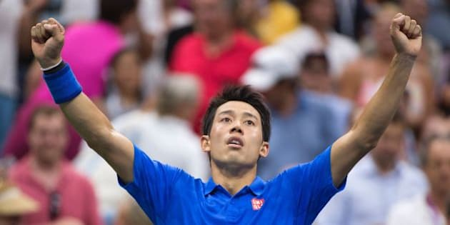 Kei Nishikori of Japan celebrates his victory over Andy Murray of Great Britain in their 2016 US Open men's singles quarterfinals match at the USTA Billie Jean King National Tennis Center on September 7, 2016 in New York. Former finalist Kei Nishikori of Japan shocked second-seeded Andy Murray in five sets on  to reach the semi-finals of the US Open. / AFP / DON EMMERT        (Photo credit should read DON EMMERT/AFP/Getty Images)