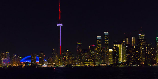 TORONTO, ONTARIO, CANADA - 2016/07/01: Night view of the Toronto skyline from inside the waters of Lake Ontario. The landmark is a major tourist attraction in Canada. (Photo by Roberto Machado Noa/LightRocket via Getty Images)