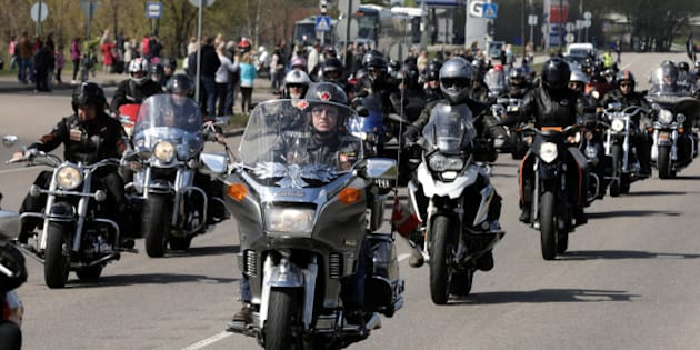Bikers on their motorcycles ride during the annual biking season's opening parade in Riga, Latvia, April 30, 2016. About 4,000 people with their motorcycles participated in the event. REUTERS/Ints Kalnins