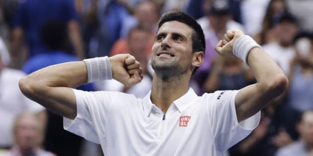 Novak Djokovic, of Serbia, reacts after defeating Gael Monfils, of France, during the semifinals of the U.S. Open tennis tournament, Friday, Sept. 9, 2016, in New York. (AP Photo/Darron Cummings)