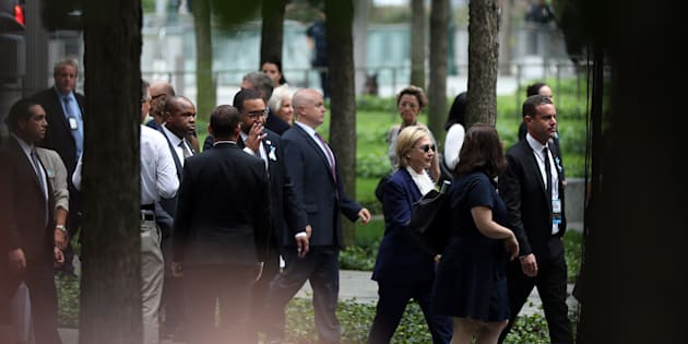 Republican presidential candidate Hillary Clinton arrives at the 15th anniversary of the 9/11 attacks in Ground Zero, Manhattan, New York, United States on Sept. 11.