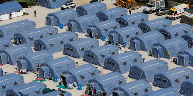A tent camp is seen from above after an earthquake that levelled the town of Amatrice, central Italy, September 1, 2016.  REUTERS/Stefano Rellandini
