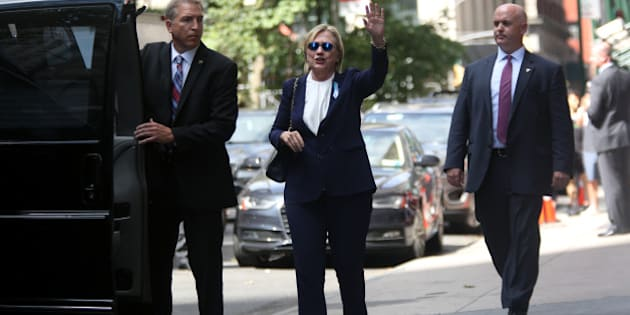 MANHATTAN, NY - SEPTEMBER 11: U.S. Presidential Candidate Hillary Clinton exits her daughter Chelsea Clinton's apartment at 21 E. 26th St. after attending an anniversary event at the World Trade Center 9/11 Memorial in Manhattan, NY, on September 11, 2016, the 15th anniversary of the terrorist attacks that destroyed the twin World Trade Center towers in 2001. (Photo by Yana Paskova/For The Washington Post via Getty Images)