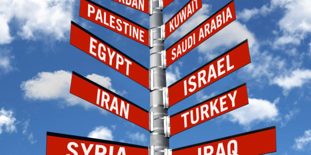 directional traffic sign symbolizing politic decisions about Middle eastern countries