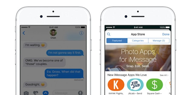 This undated photo provided by Apple shows an iPhone 7 demonstrating the Messages app, left, that has been redesigned to offer more expression options with the iOS 10 software update. In fact, the Messages app now has its own app store, right, to get additional functionality, sometimes for a fee. (Apple via AP)
