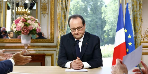 French President Francois Hollande reacts after a televised interview at the Elysee Palace where he said that France will not extend a state of emergency put in place after the November 2015 attacks beyond July 26, following the Bastille Day military parade in Paris, France, July 14, 2016. REUTERS/Francois Mori/Pool