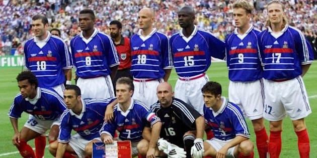 The French national soccer team poses for a team picture prior to the final of the soccer World Cup 98 between Brazil and France at the Stade de France in Saint Denis, north of Paris, Sunday, July 12, 1998. L-R back row: Zinedine Zidane, Marcel Desailly, Frank Leboeuf, Lilian Thuram, Stephane Guivarc'h and Emmanuel Petit. L-R front row: Christian Karembeu, Youri Djorkaeff, Didier Deschamps, Fabien Barthez and Bixente Lizarazu.  (AP Photo/Michel Euler)