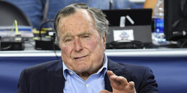 Apr 2, 2016; Houston, TX, USA;  United States former President George H.W. Bush in attendance before the 2016 NCAA Men's Division I Championship semi-final game between the Oklahoma Sooners and Villanova Wildcats at NRG Stadium. Mandatory Credit: Robert Deutsch-USA TODAY Sports