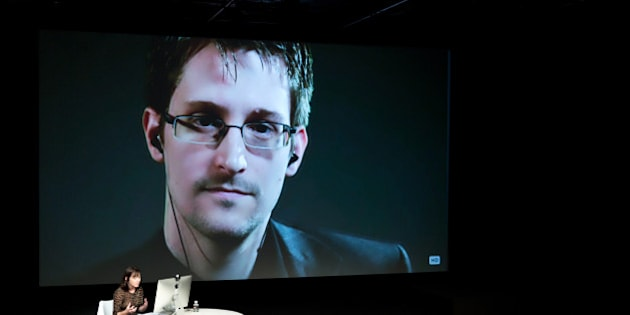 IMAGE DISTRIBUTED FOR THE NEW YORKER - Edward Snowden talks with Jane Mayer via satellite at the 15th Annual New Yorker Festival on Saturday, Oct. 11, 2014 in New York.  (Christopher Lane/AP Images for The New Yorker)