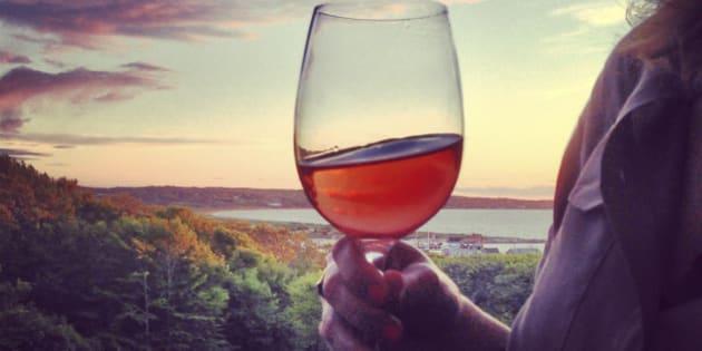Enjoying a glass of wine overlooking beautiful Martha's Vineyard