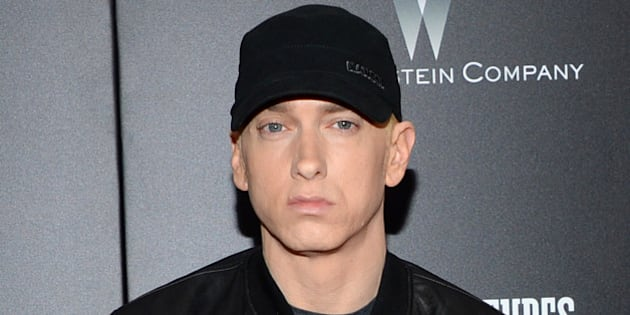 """FILE - In this July 20, 2015 file photo, Eminem attends the premiere of """"Southpaw"""" in New York. (Photo by Evan Agostini/Invision/AP, File)"""