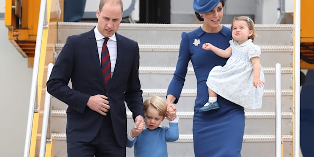 Prince William, Duke of Cambridge, Catherine, Duchess of Cambridge, Prince George of Cambridge and Princess Charlotte of Cambridge arrive at the Victoria Airport on Sept. 24 in Victoria.