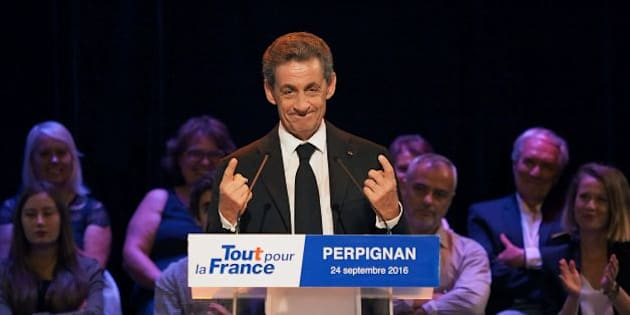 Former French president and candidate for Les Republicains presidential primary elections Nicolas Sarkozy delivers a speech during a campaign meeting in Perpignan, on September 24, 2016. / AFP / RAYMOND ROIG        (Photo credit should read RAYMOND ROIG/AFP/Getty Images)