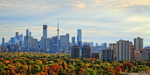 Toronto city skyline with landmark skyscrapers and office buildings, fall colored forest in foreground. Per Getty's policy, cityscape with multiple logos needs not to be editorial.