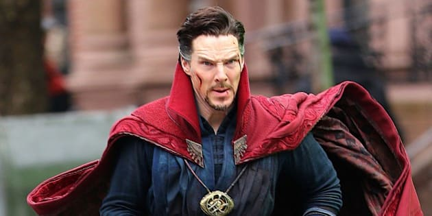 """Photo by: XPX/STAR MAX/IPx 2016 4/2/16 Benedict Cumberbatch on the set of """"Doctor Strange"""" in New York City. (NYC)"""