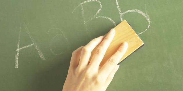 Letters on chalkboard