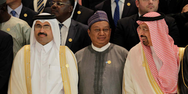 Secretary General of Opec Mohammed Sanusi Barkindo (C), poses with Saudi Energy Minister Khalid al-Falih (R) and OPEC President Qatar's Minister of Energy and Industry Mohammed bin Saleh al-Sada at the 15th International Energy Forum Ministerial (IEF15) in Algiers, Algeria  September  27, 2016. REUTERS/Ramzi Boudina