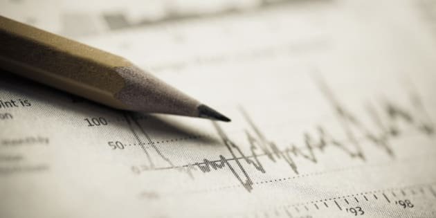 Close-up of a pencil on a line graph