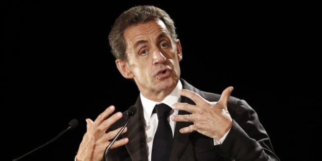 Former French President Nicolas Sarkozy delivers his speech as he runs for the 2017 presidential election, in Franconville, north of Paris, Monday, Sept. 19, 2016. (AP Photo/Christophe Ena)