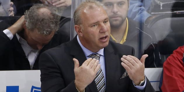 Montreal Canadiens head coach Michel Therrien calls for an official during an NHL hockey game against the Pittsburgh Penguins in Pittsburgh Tuesday, Oct. 13, 2015.(AP Photo/Gene J. Puskar