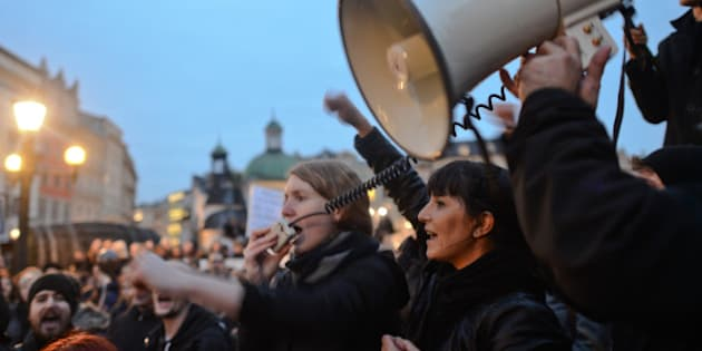 Thousands of women Pro-Choice protesters on Debnicki Square, in Krakow, during a 'Black protest'. Women nationwide strike took place all around the country and it is the response against the proposed tightening of the law on abortion in Poland. Polish women are demanding respect for their right to free choice and the freedom to decide about their own bodies and lives.
