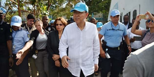 UN Secretary-General of the United Nations, Ban Ki-moon before boarding a helicopter at the end of your visit to a shelter in the Lycee Phillipe Guerrier in the city of Les Cayes, in the southwest of Haiti, on October 15, 2016. 