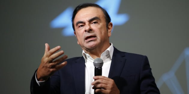"Carlos Ghosn, Chairman and CEO of the Renault-Nissan Alliance, gestures as he speaks during the presentation of the Renault's new Alpine sports concept car ""Vision"" in Monaco February 16, 2016. Renault lifted the lid on its revival of the Alpine sports car brand on Tuesday, showing a concept version of a new model it hopes will give it a modest foothold in premium auto markets when it goes on sale next year.   REUTERS/Eric Gaillard"