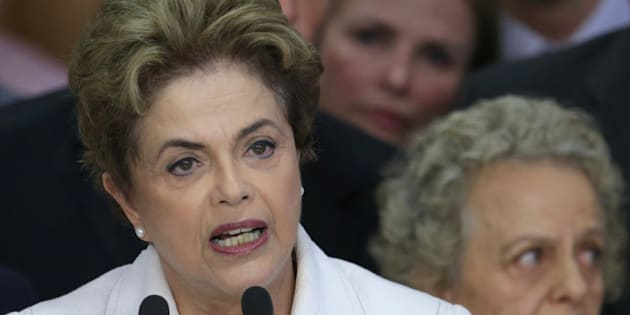 "Brazil's President Dilma Rousseff addresses the nation at Planalto presidential palace in Brasilia, Brazil, Thursday, May 12, 2016. Speaking hours after the Senate voted to suspend her on Thursday, Rousseff blasted the impeachment process against her as ""fraudulent"" and promised to fight what she characterized as an injustice more painful than the torture she endured under a past military dictatorship. (AP Photo/Eraldo Peres)"