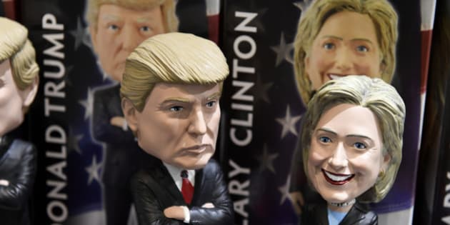 Bobblehead dolls of US Republican presidential nominee Donald Trump and Democratic presidential nominee Hillary Clinton are seen for sale in a gift shop at Philadelphia International Airport, October 20, 2016 in Philadelphia, Pennsylvania. / AFP / Robyn Beck        (Photo credit should read ROBYN BECK/AFP/Getty Images)