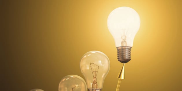 Electric light bulbs, computer illustration.