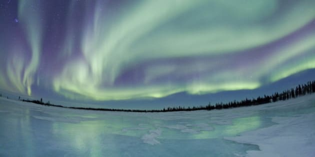 NORTHERN MANITOBA, CANADA - MARCH 2008:***EXCLUSIVE*** The Northern Lights, pictured on March 8, 2008. Recording nature's most spectacular light show for the last four years, Linda Drake has photographed some of the most beautiful examples of the Northern Lights ever seen. Decamping each year to Northern Manitoba in Canada to capture the Aurora Borealis, Linda, 40, braves temperatures of minus 20 degrees in search of that elusive perfect shot. Making the pilgrimage to just south of the Arctic circle, Linda avoids the crowds of nature and wildlife photographers who travel there each year for the waking polar bears and instead concentrates on the irriddescent green and blue Northern Lights. (Photo by Linda Drake/ Barcroft USA / Getty Images)