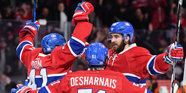 MONTREAL, QC - NOVEMBER 5: Greg Pateryn #8 of the Montreal Canadiens celebrates after scoring a goal against the Philadelphia Flyers  in the NHL game at the Bell Centre on November 5, 2016 in Montreal, Quebec, Canada. (Photo by Francois Lacasse/NHLI via Getty Images)