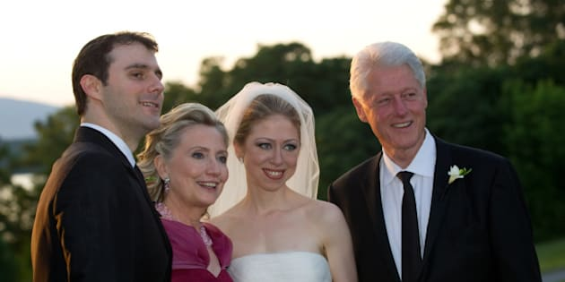 RHINEBECK, NY - JULY 31:  In this handout image provided by Barbara Kinney, (L-R) Marc Mezvinsky, U.S. Secretary of State Hillary Clinton, Chelsea Clinton and former U.S. President Bill Clinton pose during the wedding of Chelsea Clinton and Marc Mezvinsky at the Astor Courts Estate on July 31, 2010 in Rhinebeck, New York. Chelsea Clinton, the daughter of former U.S. President Bill Clinton and Secretary of State Hillary Clinton, married Marc Mezvinsky today in an interfaith ceremony at the estate built by John Jacob Astor on the Hudson River about two hours north of New York City.  (Photo by Barbara Kinney via Getty Images)