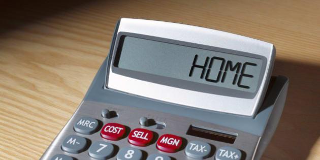 Home written on calculator