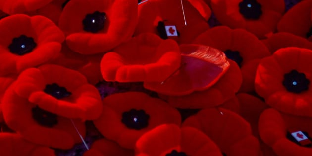Remembrance Day Poppies, with Canadian Flag Pins