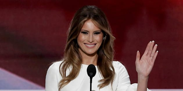 Melania Trump, wife of Republican U.S. presidential candidate Donald Trump, waves as she arrives to speak at the Republican National Convention in Cleveland, Ohio, U.S. July 18, 2016. REUTERS/Mike Segar     TPX IMAGES OF THE DAY
