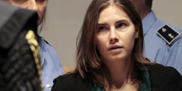 Amanda Knox, the U.S. student convicted of murdering her British flatmate Meredith Kercher in Italy in November 2007, arrives in court for her appeal trial session in Perugia October 3, 2011. Knox will tell an Italian court she did not murder her British roommate during a frenzied sex game that turned violent when she makes her final plea to judges on Monday to overturn her 26-year jail sentence. Knox and her Italian ex-boyfriend, Raffaele Sollecito, are fighting a 2009 verdict that found them guilty of stabbing the Leeds University exchange student to death during a drug-fuelled sexual assault. A verdict is due on Monday.  REUTERS/Alessandro Bianchi (ITALY - Tags: CRIME LAW)