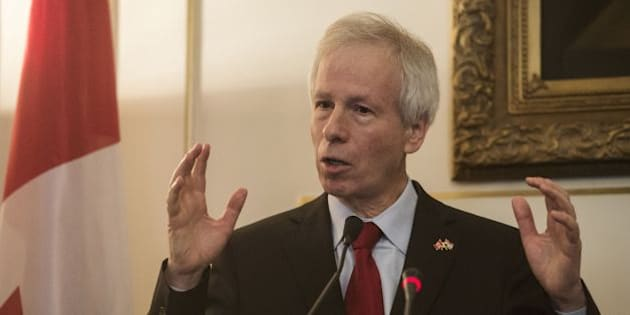 Canadian Foreign Minister Stephane Dion speaks during a joint press conference with his Egyptian counterpart in Cairo, on May 25, 2016. / AFP / KHALED DESOUKI        (Photo credit should read KHALED DESOUKI/AFP/Getty Images)