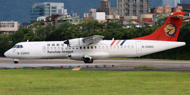 Taipei, Taiwan - May 18, 2014: A TransAsia Airways ATR 72-500 with the registration B-22803 taxis at Taipei Songshan Airport (TSA) in Taiwan. TransAsia Airways is a private airline from Taiwan.