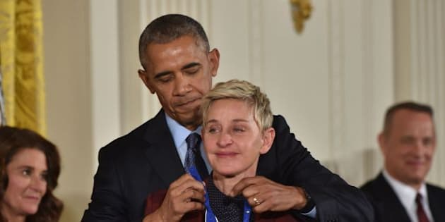US President Barack Obama presents actress and comedian Ellen DeGeneres with the Presidential Medal of Freedom, the nation's highest civilian honor, during a ceremony honoring 21 recipients, in the East Room of the White House in Washington, DC, November 22, 2016. / AFP / Nicholas Kamm        (Photo credit should read NICHOLAS KAMM/AFP/Getty Images)