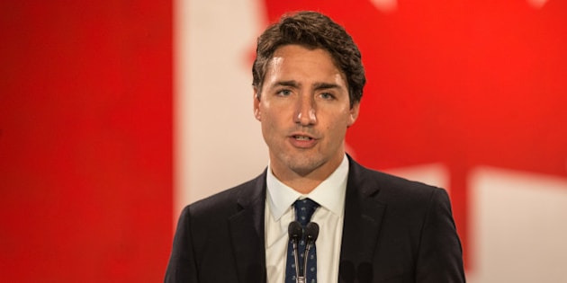 Halifax, Canada - September 20, 2015: Liberal Party of Canada leader Justin Trudeau speaks to a large crowd gathered at Pier 21.