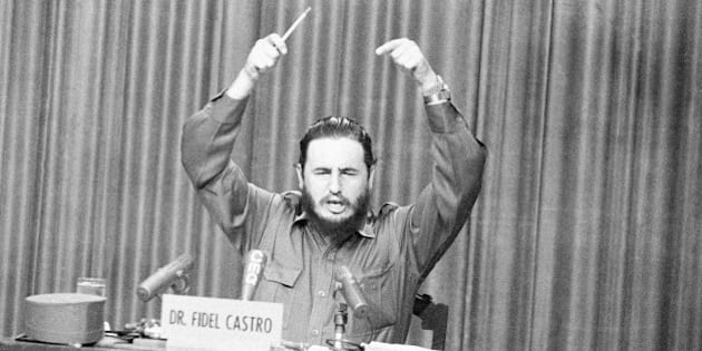 Premier Fidel Castro gestures angrily as he censured resigned provincial military commander Major Hubert Matos for what he called conspiratorial activities against his government in Havana  Oct. 22, 1959. Castro on the same television appearance accused planes based in the United States of bombing Cuba and said this was linked to Matos' conspiracy. (AP Photo)