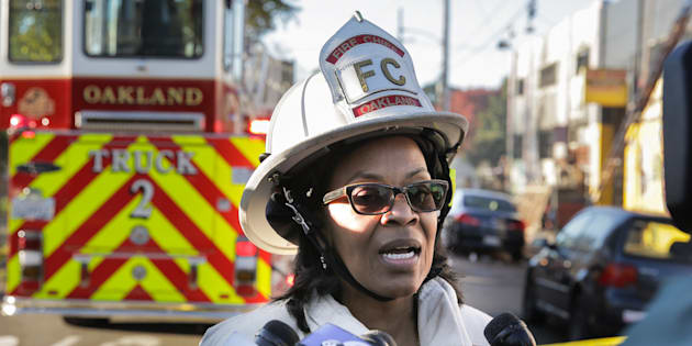 OAKLAND, CA - DECEMBER 03:  Oakland Fire Chief Teresa Deloach Reed speaks to the press following an overnight fire that claimed the lives of at least nine people at a warehouse in the Fruitvale neighborhood on December 3, 2016 in Oakland, California. The warehouse was hosting an electronic music party.  (Photo by Elijah Nouvelage/Getty Images)