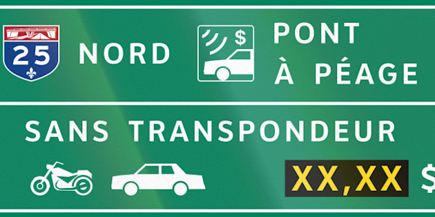 Guide and information road sign in Quebec, Canada - Fees for bicycles and passenger cars. Translations: Nord - North, Pont a peage - Toll bridge, Sans transpondeur - Without transponder