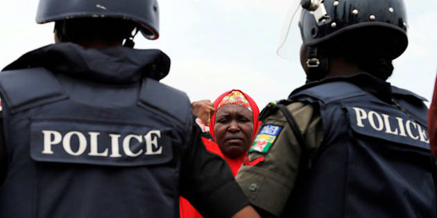 #Bring Back Our Girls (BBOG) campaigners and parents of abducted Chibok girls denied access by police to see President Muhammadu Buhari take part in a rally in Abuja, Nigeria August 25, 2016.   REUTERS/Afolabi Sotunde